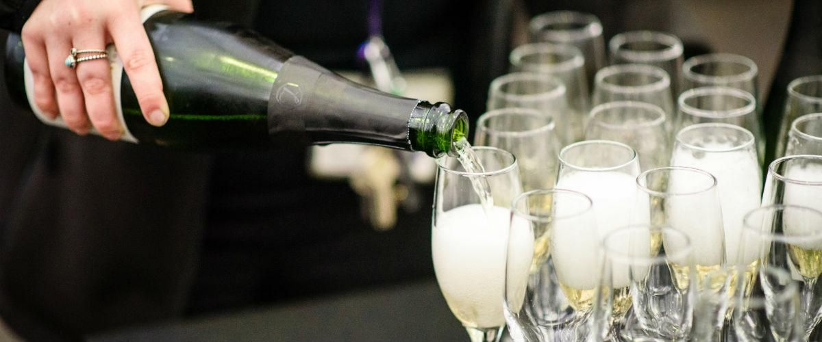 Fizz being poured for the Show Garden Awards at BBC Gardeners' World Live