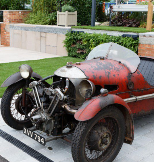 vintage car in the What Lies Beneath Garden at BBC Gardeners' World Live special edition 2021